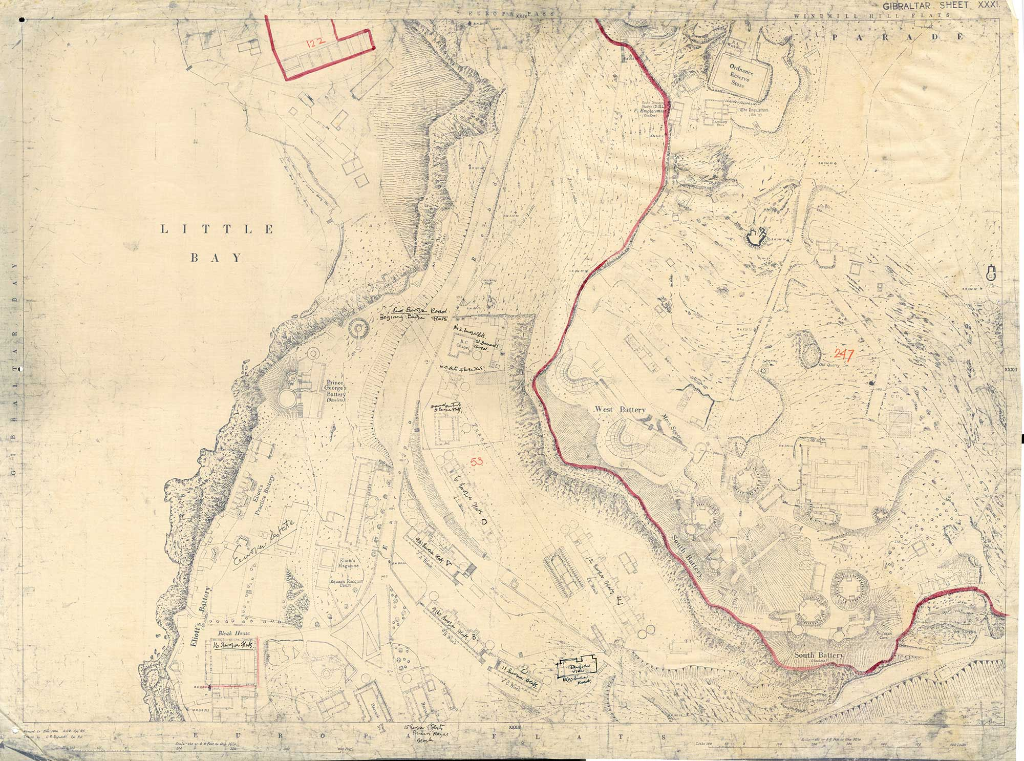 Map-18-Gibraltar-Sheet-31-1944-Little-bay-and-Elliot-Battery