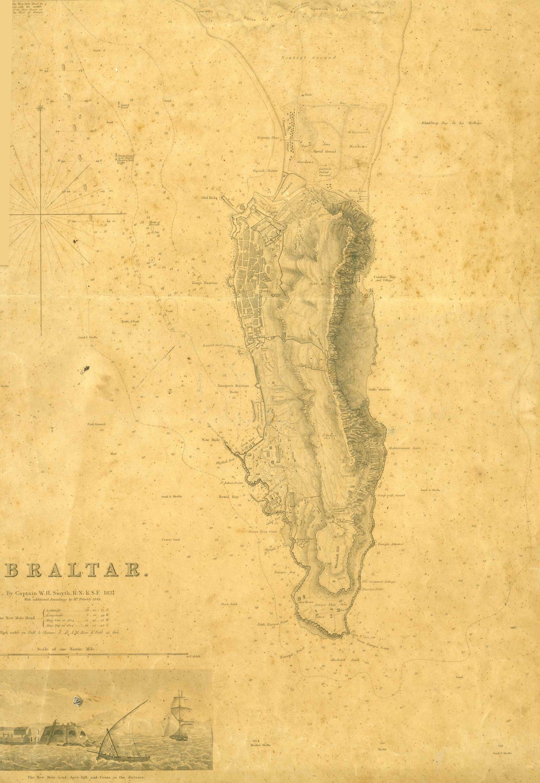 Map-46-Overall-Map-of-Gibraltar-by-Captain-Smyth-1831